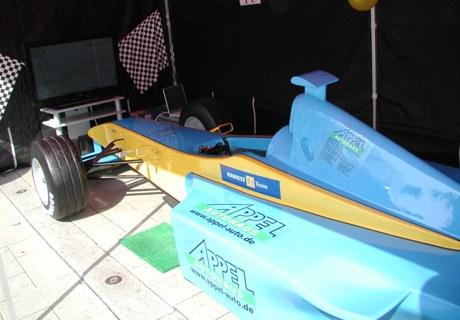 f1 simulator blau gelb renault promotionzelt mieten